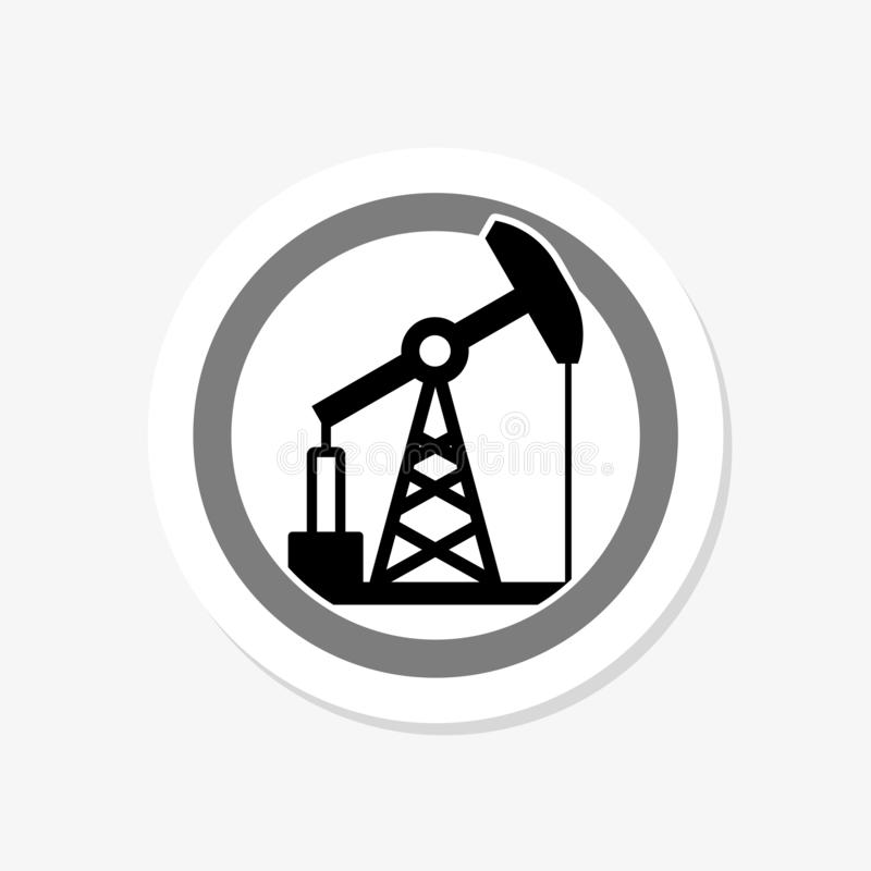 Oil rig sticker icon in flat circle isolated illustration for web. On white vector illustration