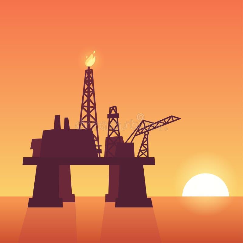 Oil rig on sunset. Oil extraction rig on sunset. Offshore drilling platform silhouette on ocean sky background. Vector illustration