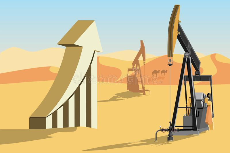 Oil rigs and symbol of rising oil prices. vector illustration