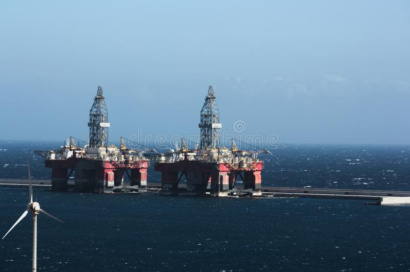 Oil rigs moored to safe harbor royalty free stock photos