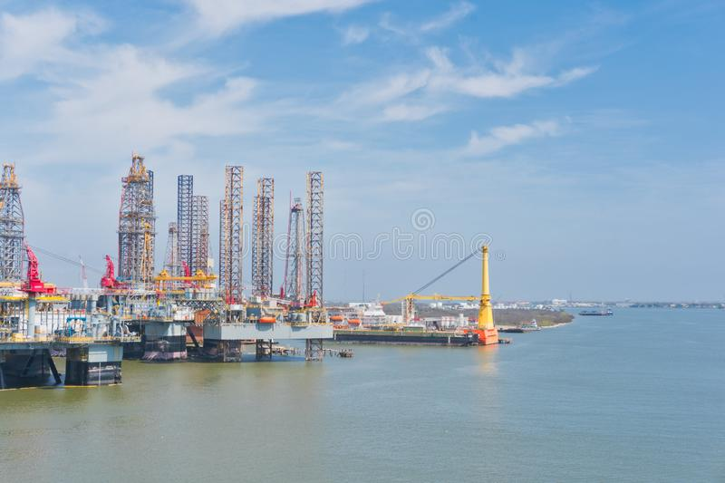 Oil rigs at the port royalty free stock photo