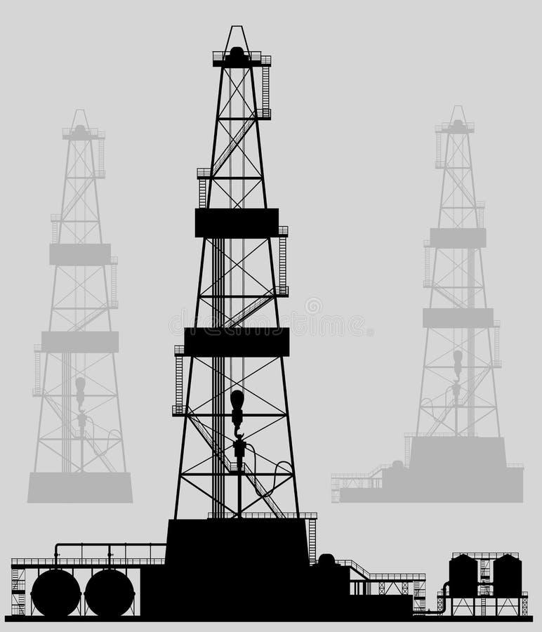 Oil rigs silhouette. stock illustration