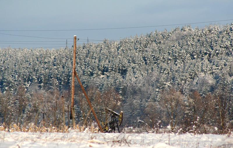 Oil rocking chair winter landscape royalty free stock photo