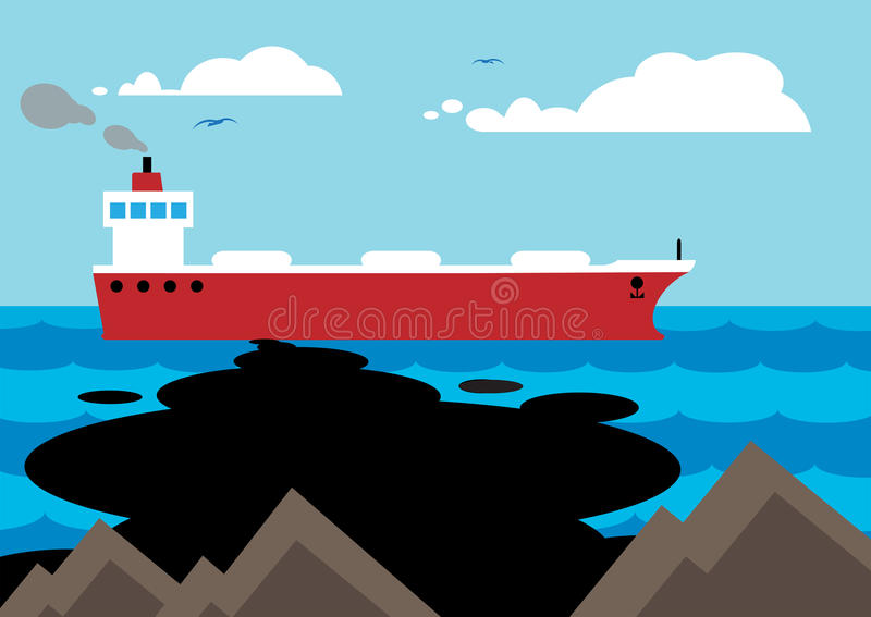 Oil Slick. An oil tanker accident, with an oil slick forming along the rocky coastline vector illustration