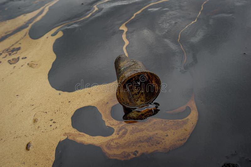 Oil sludge contaminating the sea during the oil spill disaster in Samet Island, Rayong, Thailand.  royalty free stock photos