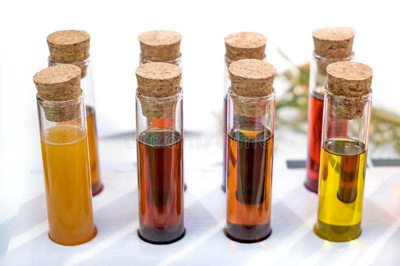 Oil specimen liquid test tube urine samples vials royalty free stock photo