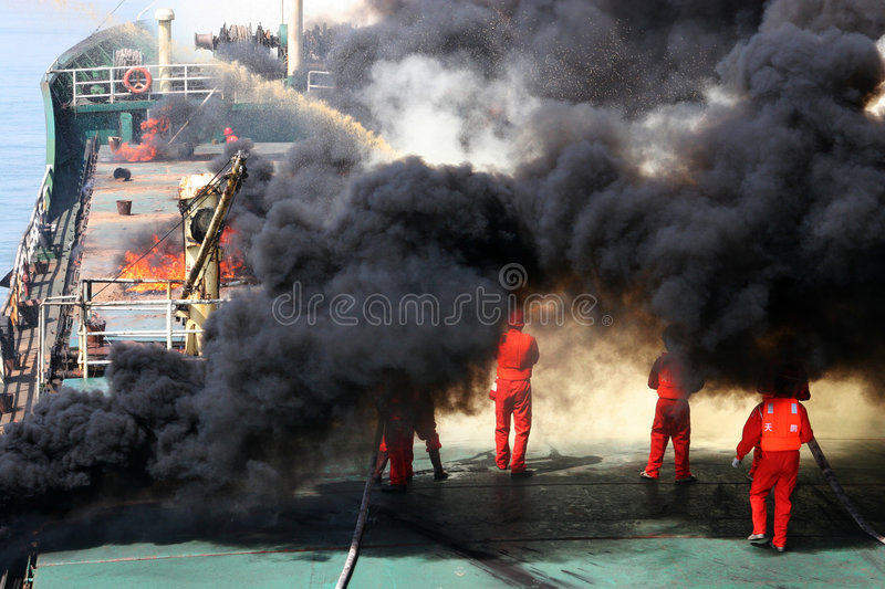 Oil spill contingency exercise. This is an oil spill contingency exercise which was organized by the former Ministry of Communications in China.It was simulation royalty free stock photography