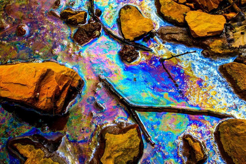 Oil spill. Environmental pollution in Hungary, 04/16/2011 stock photography