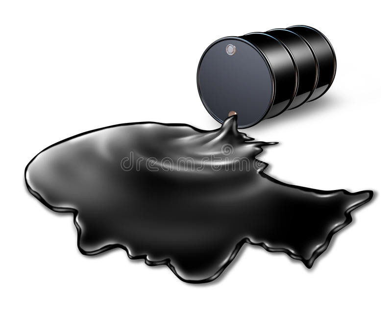 Oil Spill Health Risk. Concept as a black barrel of petroleum spilling out of a metal drum with the chemical liquid shaped as a human head as an energy metaphor royalty free illustration