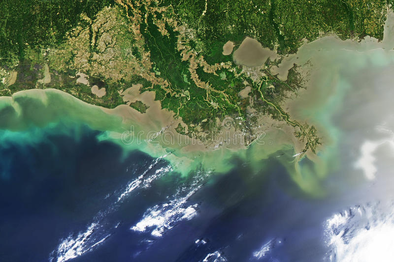 Oil spill at Mississippi delta,. Captured from space stock photography