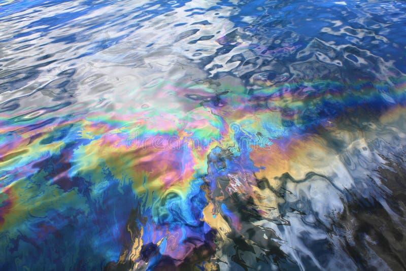 Oil spill in Pearl Harbor. Oil spill from USS Arizona battleship in Pearl Harbor stock images