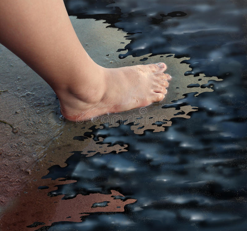 Oil Spill. Or petroleum slick concept with the foot of a child walking on a sandy beach turned into a disaster zone with oily black sludge polluting the marine vector illustration