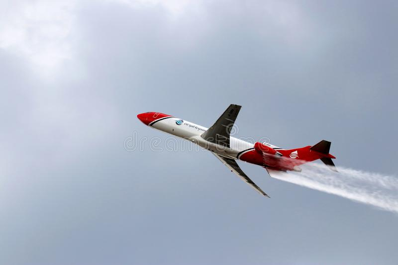 Oil spill response plane. The Boeing 727 used by the company Oil Spill Response Ltd to respond to oil spill accidents royalty free stock photography