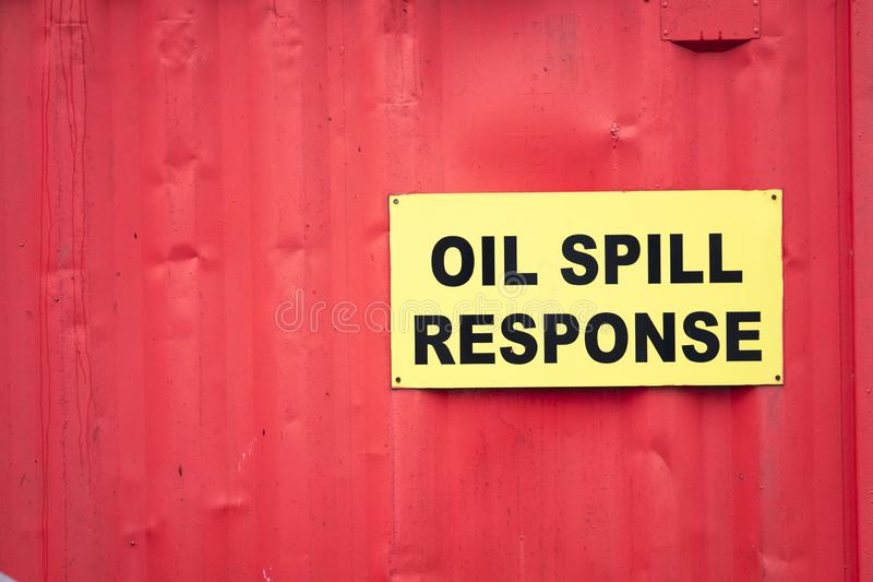 Oil spill response sign safety spillage notice. Uk royalty free stock photography