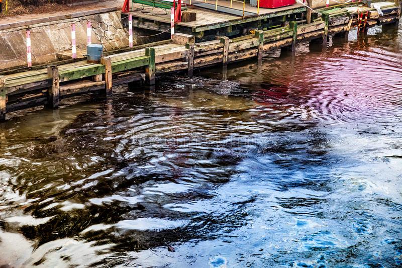 Oil spill on water stock photos