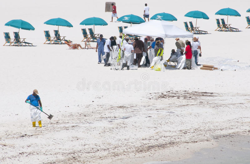 Download Oil Spill Workers Cleaning Beach Editorial Stock Photo - Image: 14859993