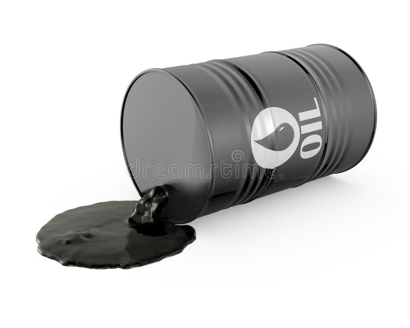 Oil is spilling from the barrel vector illustration