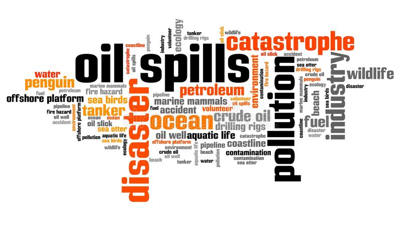 Oil spills. Environmental issues and concepts word cloud illustration. Word collage concept stock illustration