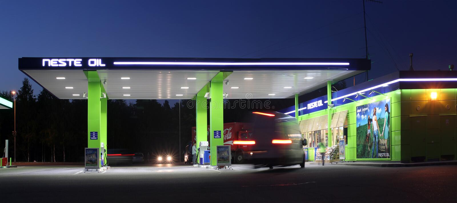 Oil station in the night. Oil station of the NESTE OIL company in the night royalty free stock images
