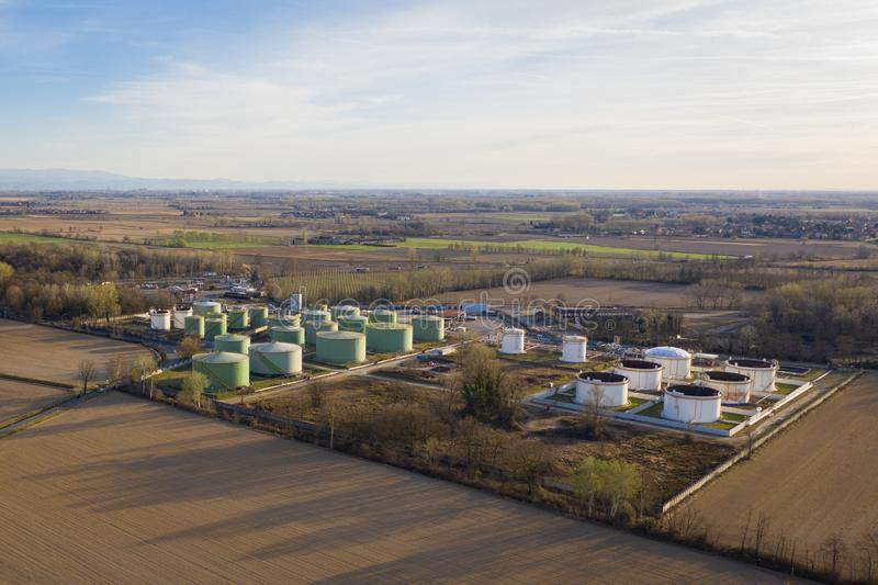 Oil storage aerial view. Aerial view of oil storage with a storage capacity of approximately 220,000 cubic meters, storage and handling services for petroleum royalty free stock photography