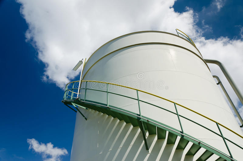 Oil storage tank. In petrochemical plant stock image