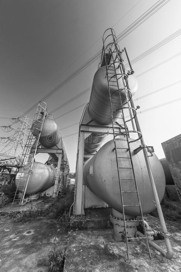 Oil storage tank. In chemical factory stock photo