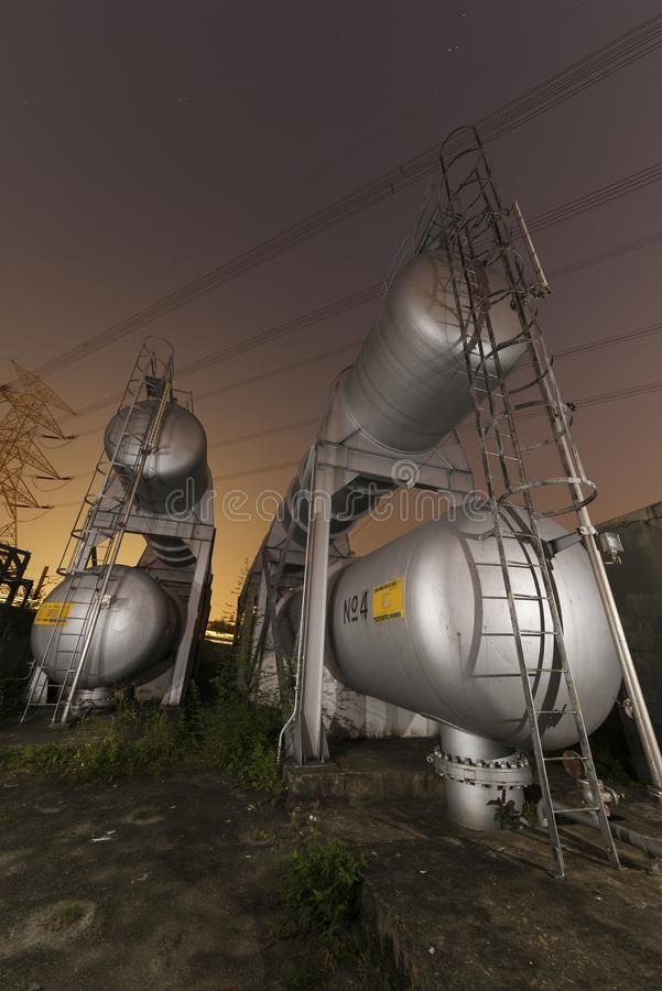 Oil storage tank. In factory royalty free stock photography