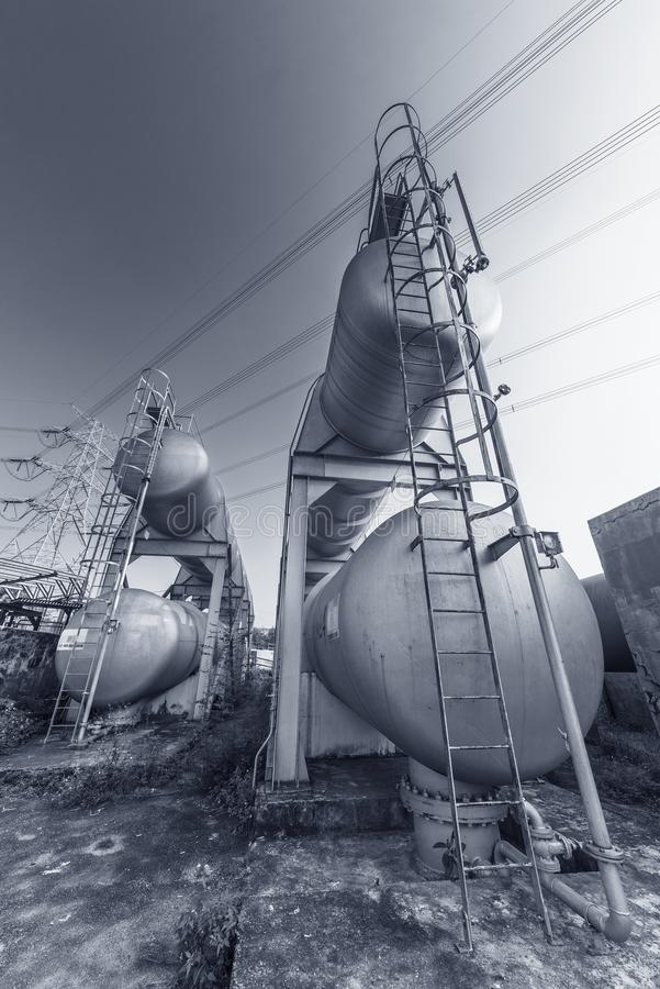 Oil storage tank. In petrochemical factory stock photography