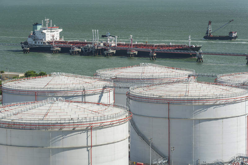 Oil Storage tank. And oil tanker stock image