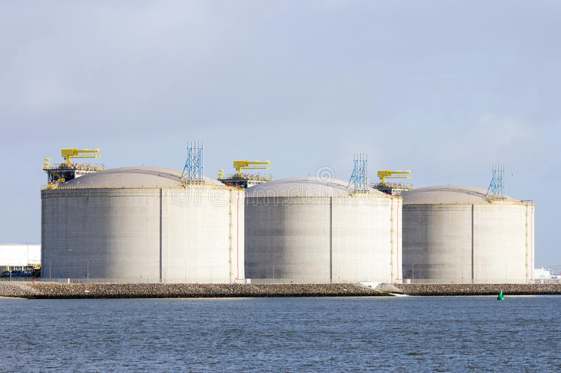 Oil storage tanks. In the Rotterdam harbor royalty free stock image