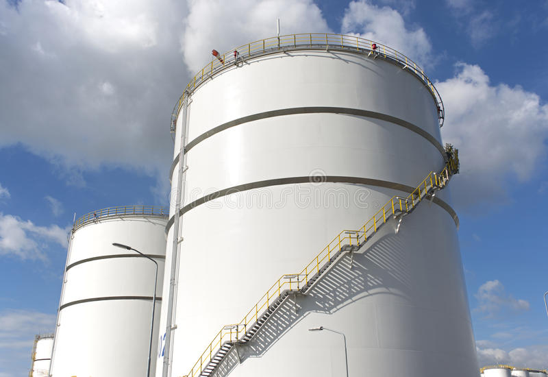 Oil storage tanks. In refinery Netherlands industrial area of Europoort near Rotterdam royalty free stock photography