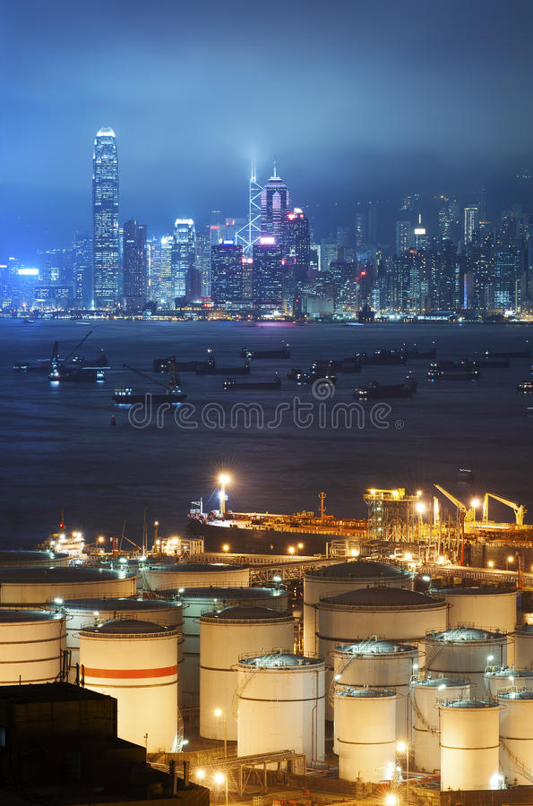 Oil storage tanks. With urban background in Hong Kong royalty free stock photography