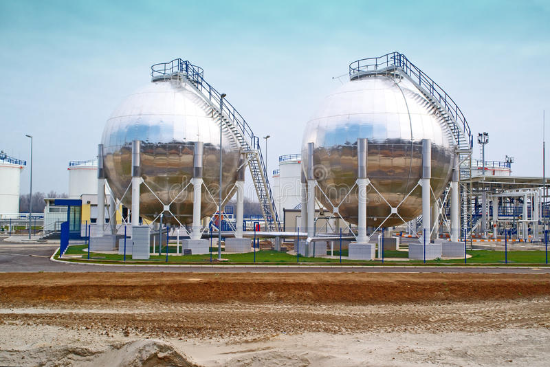 Oil storage tanks. Fuel storage tanks at oil rafinery factory stock photos