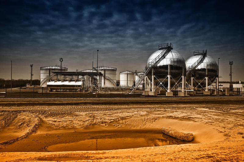 Oil storage tanks. Fuel storage tanks at oil rafinery factory stock images