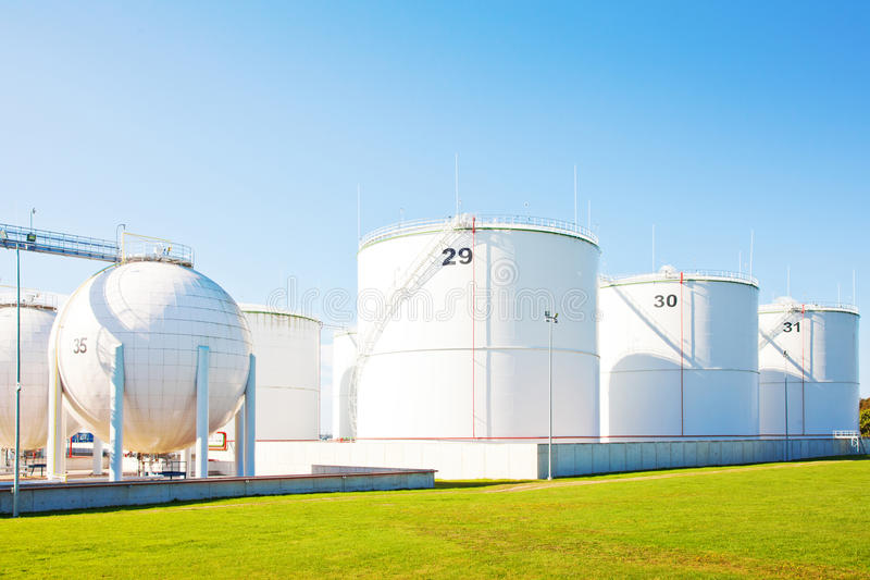 Oil storage tanks. High resolution photo of oil storage tanks stock images
