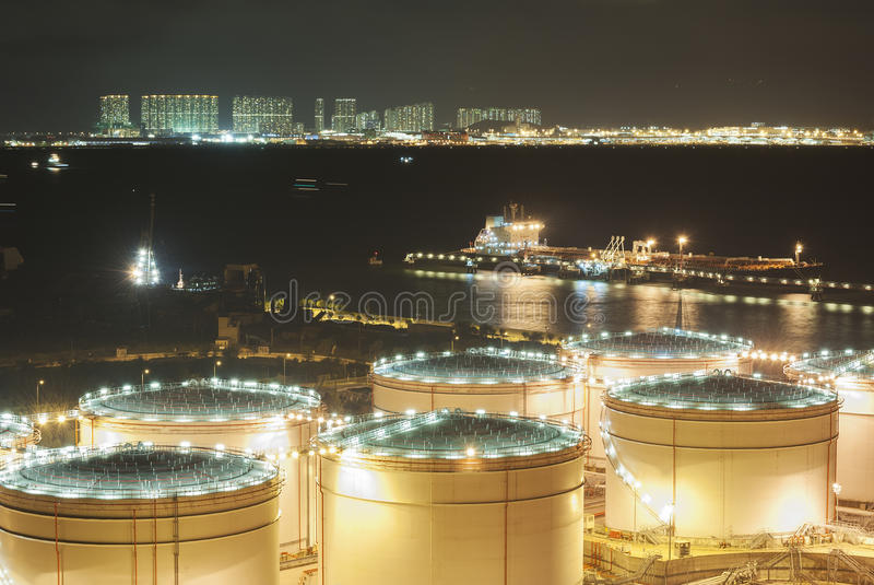 Oil Storage tanks. At night royalty free stock photo