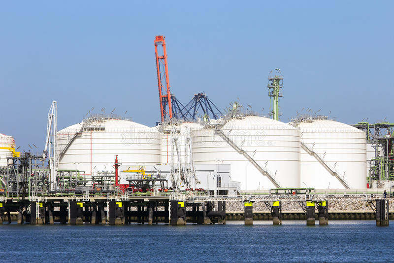 Oil storage. Tanks in the Rotterdam harbor royalty free stock photos