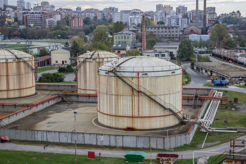 Oil storage tanks at urban place. In Serbia, Belgrade royalty free stock photo