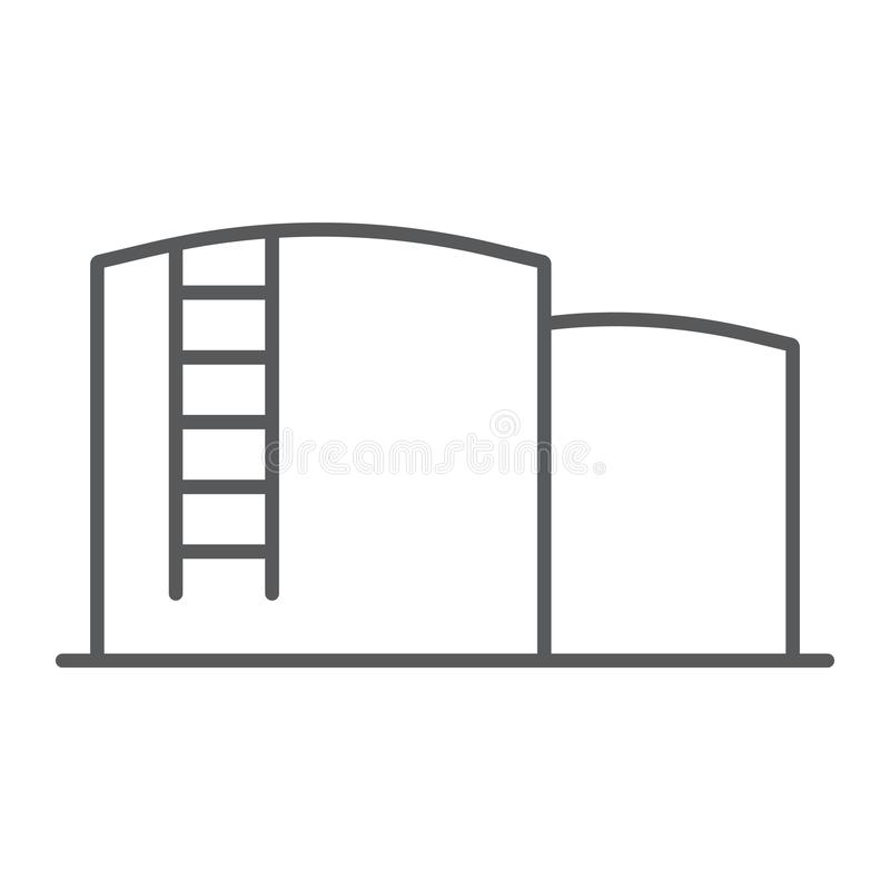 Oil storage thin line icon, fuel and industry, oil tank sign, vector graphics, a linear pattern on a white background. royalty free illustration