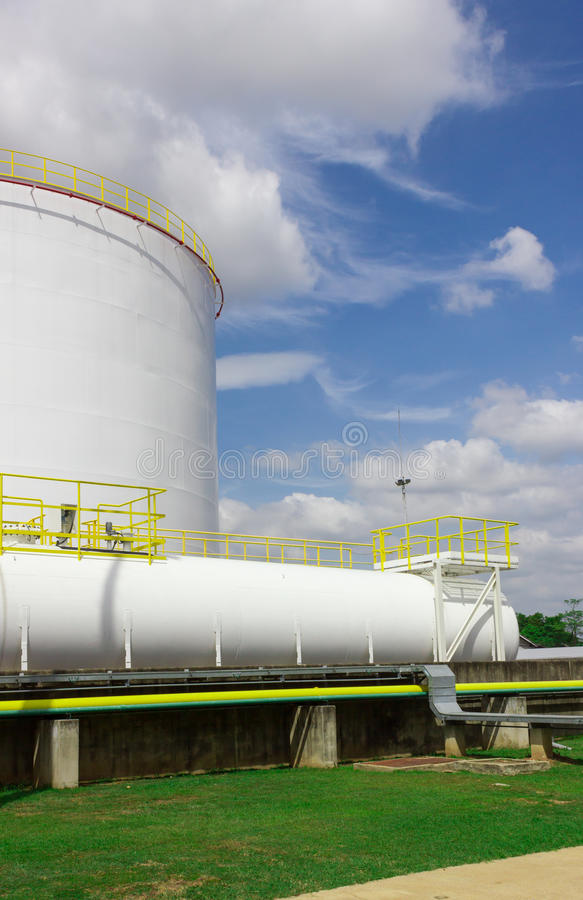 Oil tank farm in refinery royalty free stock photos