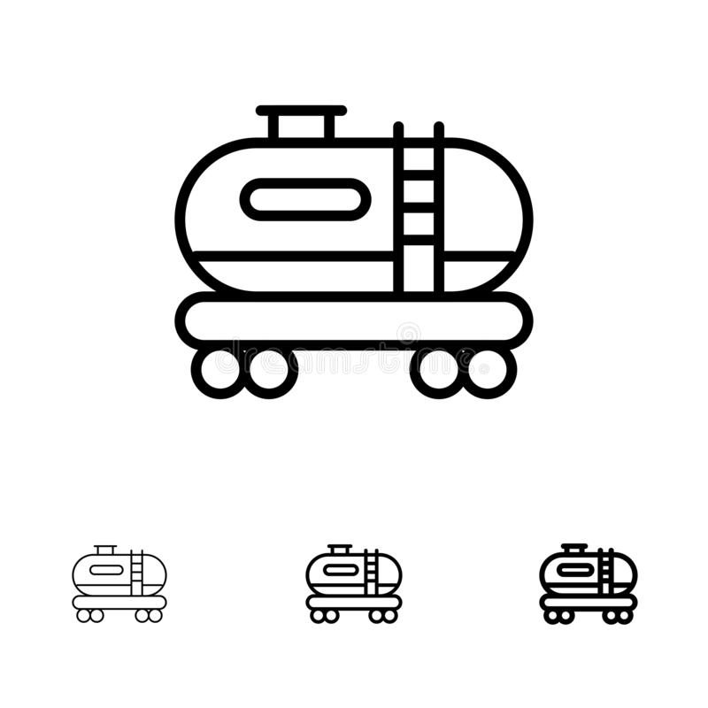 Oil, Tank, Pollution Bold and thin black line icon set stock illustration