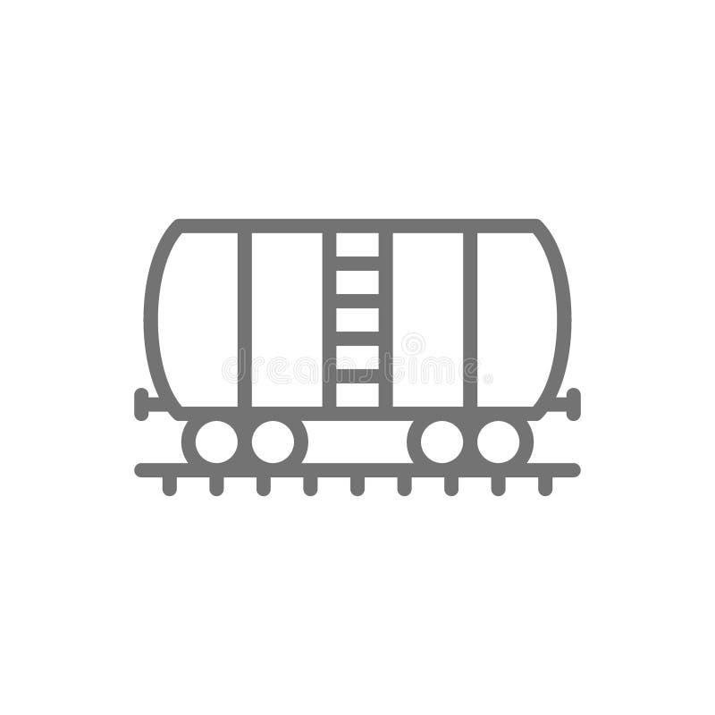 Oil tank on rails, cargo wagon line icon. royalty free illustration