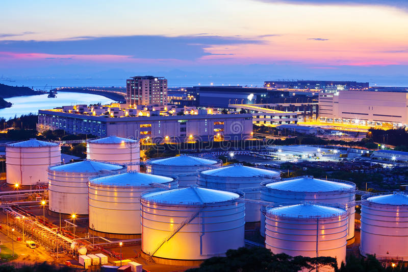 Oil tank during sunset stock images