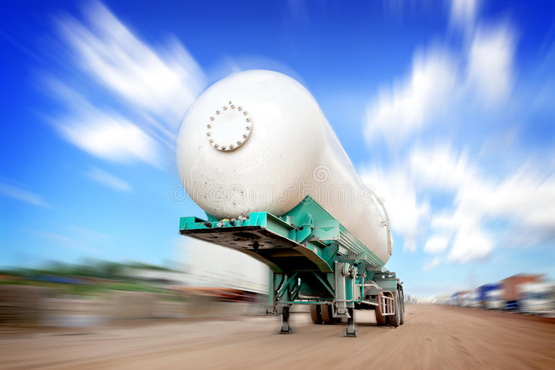 Oil tank truck. At construction site stock image