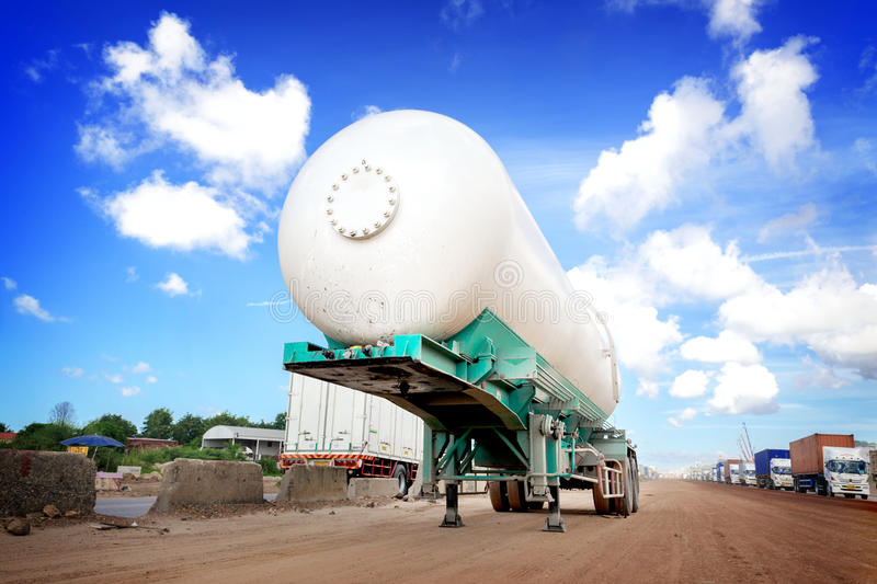 Oil tank truck. At construction site royalty free stock photos