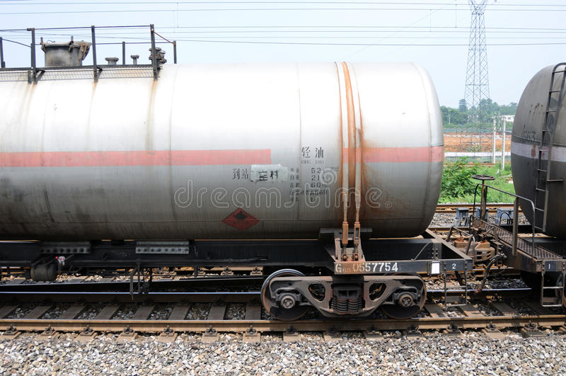 Oil tank truck train. A chinese running oil tank truck train royalty free stock image