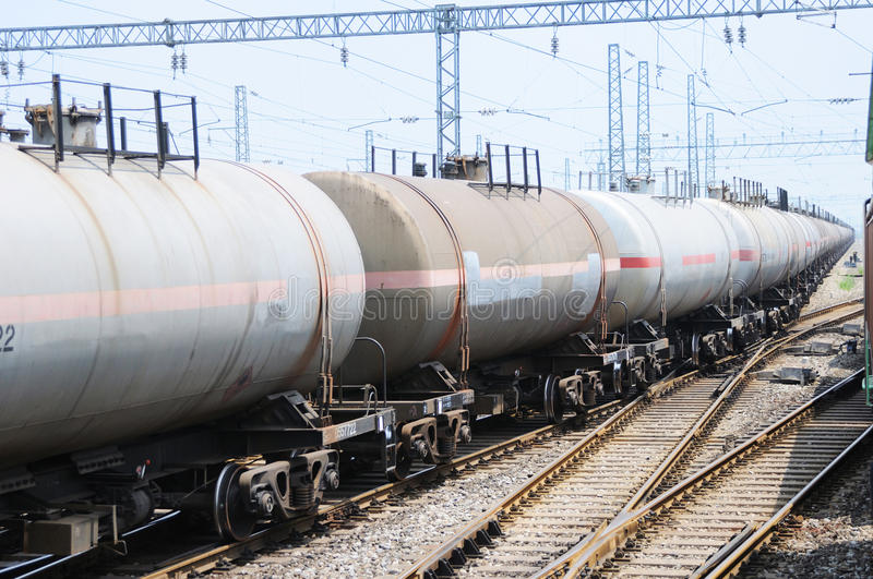 Oil tank truck train. A chinese running oil tank truck train royalty free stock photos