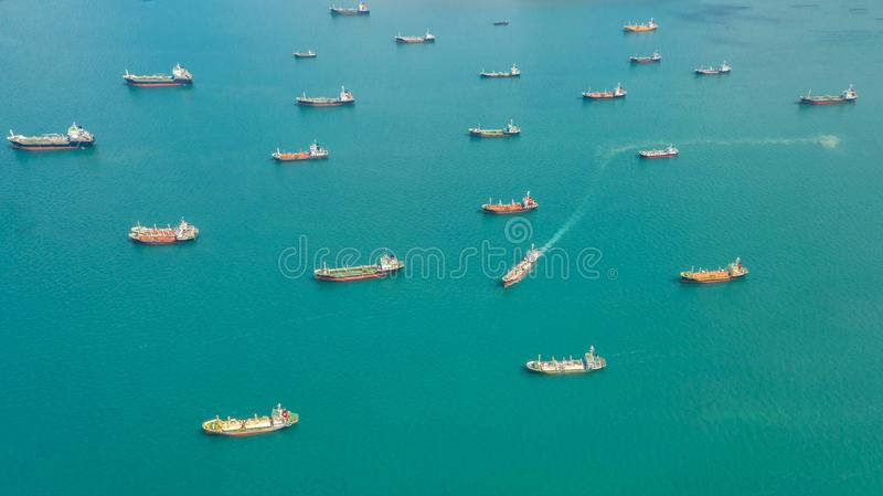 Oil tanker, gas tanker in the high sea.Refinery Industry cargo ship,aerial view,Thailand, in import export, LPG,oil refinery, stock images