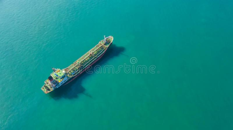Oil tanker, gas tanker in the high sea.Refinery Industry cargo ship,aerial view,Thailand, in import export, LPG,oil refinery, royalty free stock image