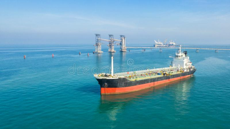 Oil tanker, gas tanker in the high sea.Refinery Industry cargo ship,aerial view,Thailand, in import export, LPG,oil refinery,. Logistics and transportation with stock photo